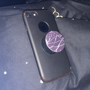 black+gold iphone 7 case with popsocket
